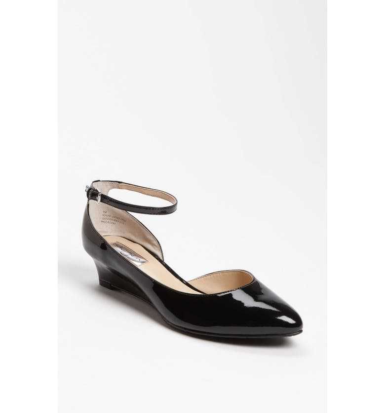 HALOGEN<SUP>®</SUP> HALOGEN BIANCA ANKLE STRAP LOW WEDGE, Main, color, 001
