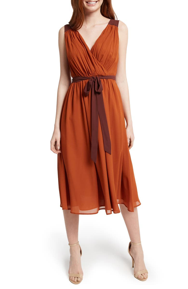 MODCLOTH Pleated Fit & Flare Dress, Main, color, 200