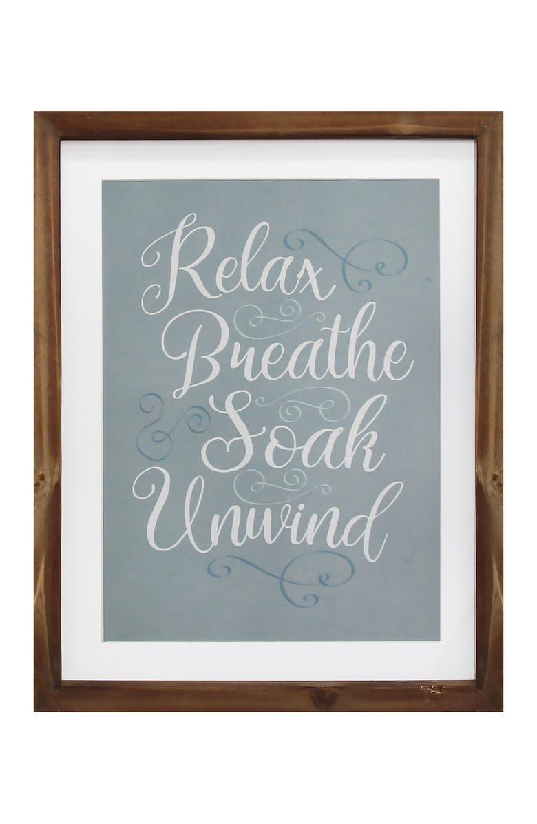 STRATTON HOME DECOR Multi Relax, Breathe, Soak, Unwind Framed Bath Art, Main, color, NATURAL WOOD FRAME BLUE  WHITE