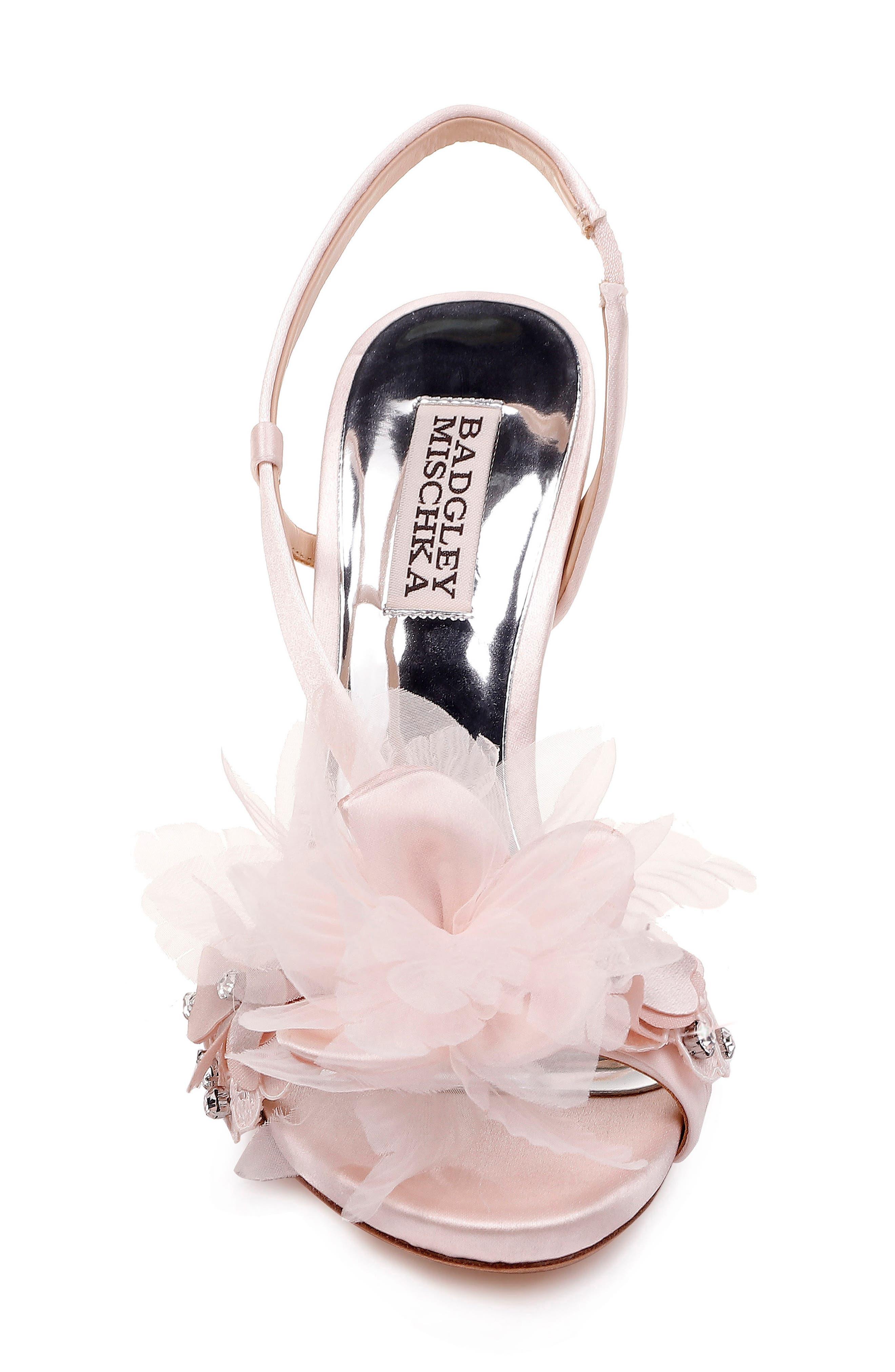 ,                             Badgley Mischka Forever Flower Sandal,                             Alternate thumbnail 4, color,                             LIGHT PINK SATIN