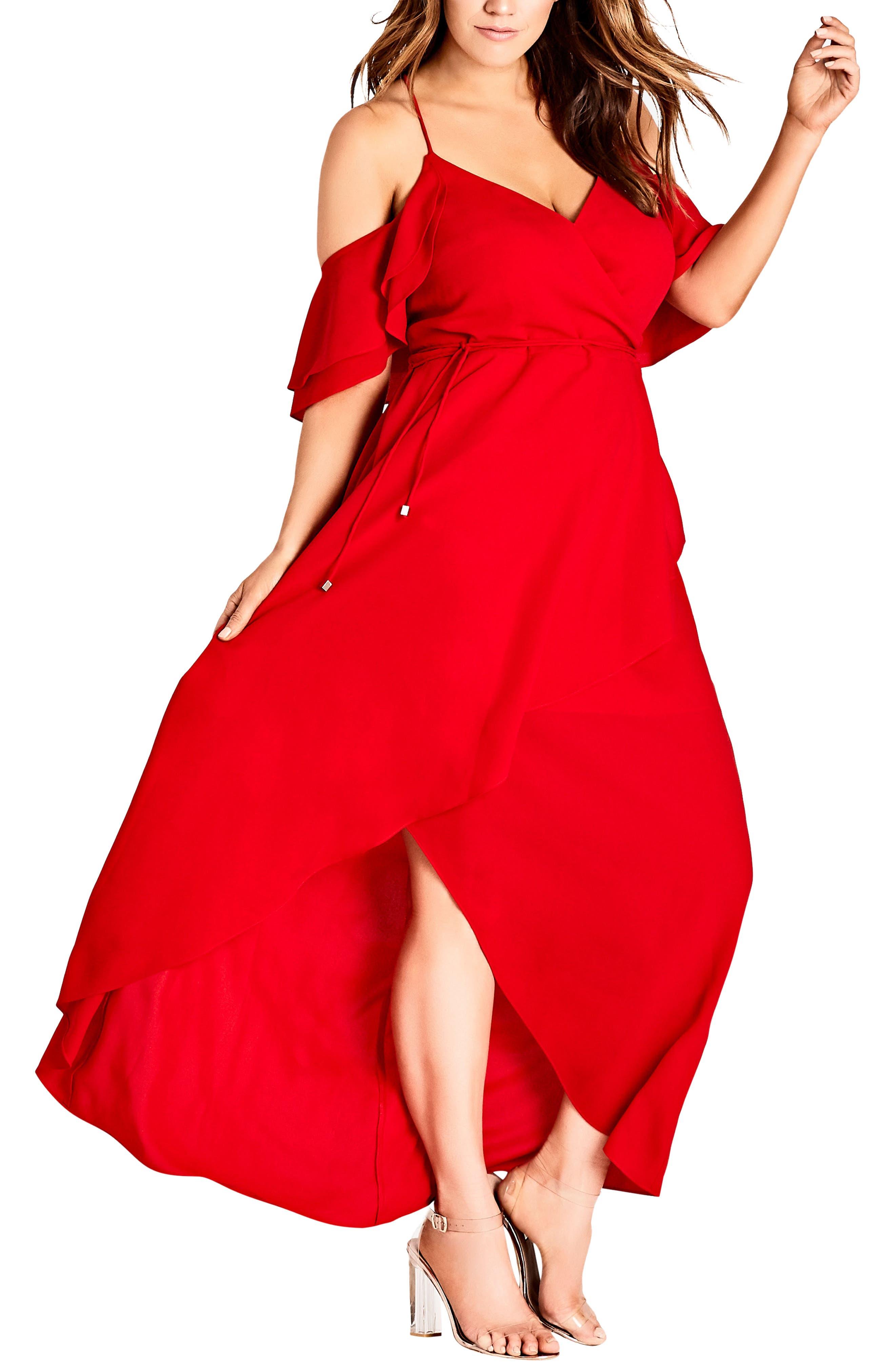 Plus Size City Chic Miss Jessica Maxi Dress, Red