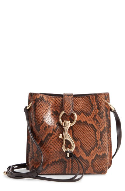 Rebecca Minkoff MINI MEGAN SNAKE EMBOSSED LEATHER FEED BAG