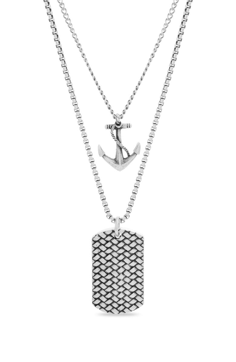 STEVE MADDEN Anchor Dog Tag Pendant Necklace, Main, color, METALLIC SILVER