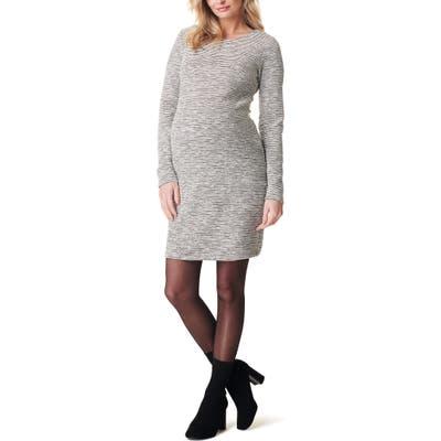 Noppies Heather Stripe Long Sleeve Maternity Dress, Ivory