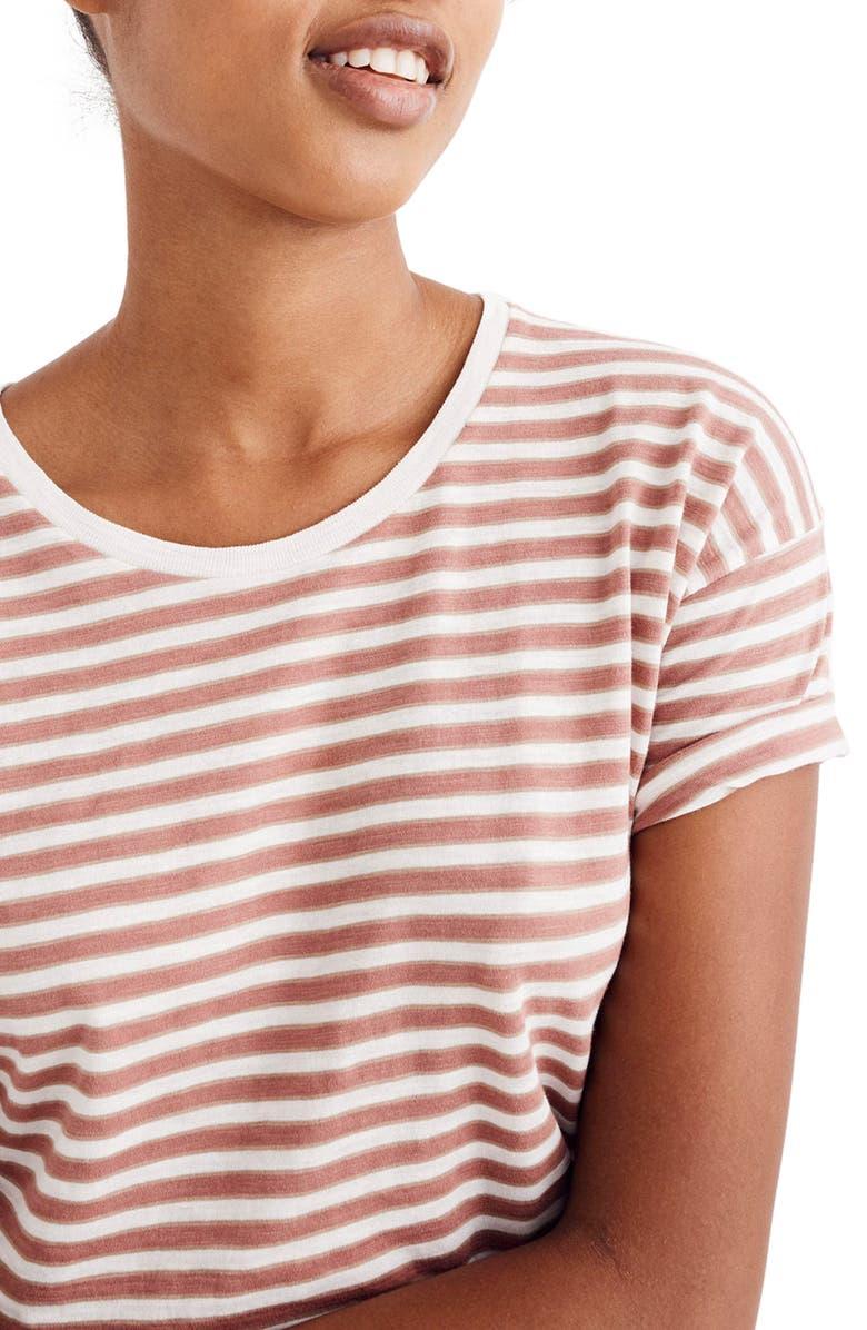 MADEWELL Whisper Cotton Stripe Tee, Main, color, 650