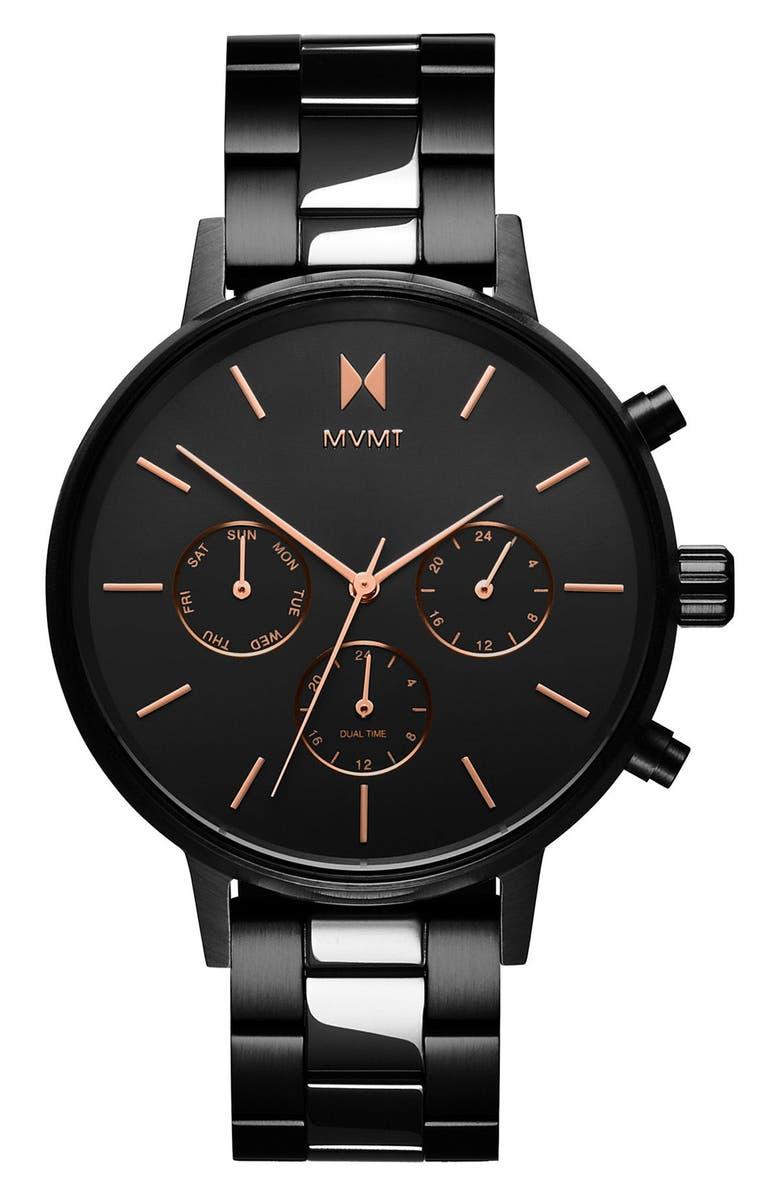 MVMT Nova Chronograph Bracelet Watch, 38mm, Main, color, BLACK