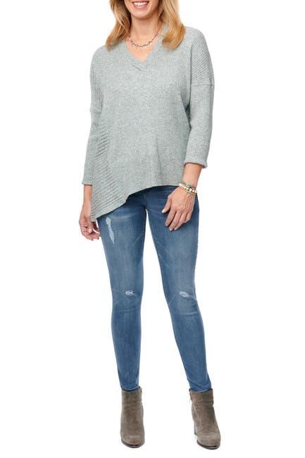 Image of Democracy Mixed Knit Asymmetrical Hem Sweater