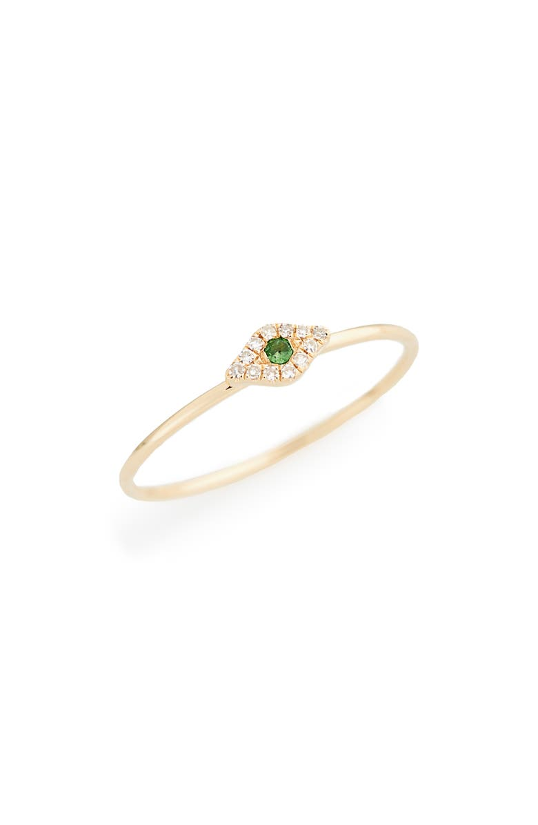 EF COLLECTION Evil Eye Diamond & Sapphire Stack Ring, Main, color, YELLOW GOLD/ TSAVORITE