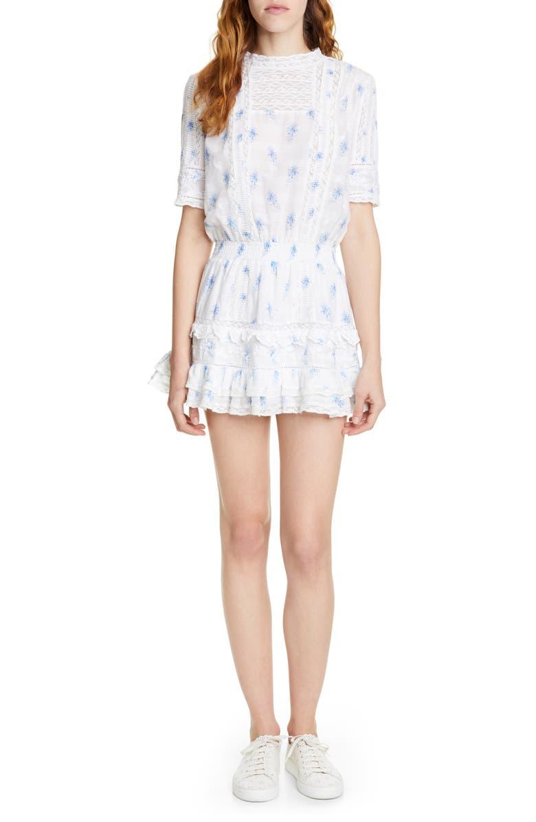 LOVESHACKFANCY Leighton Ruffle Tier Minidress, Main, color, BALLAD BLUE
