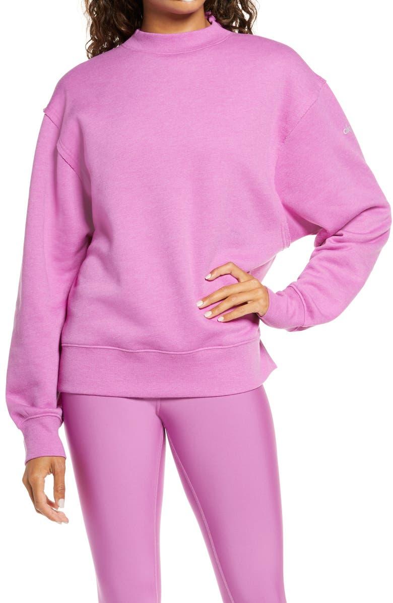 ALO Freestyle Mock Neck Sweatshirt, Main, color, ORCHID HEATHER