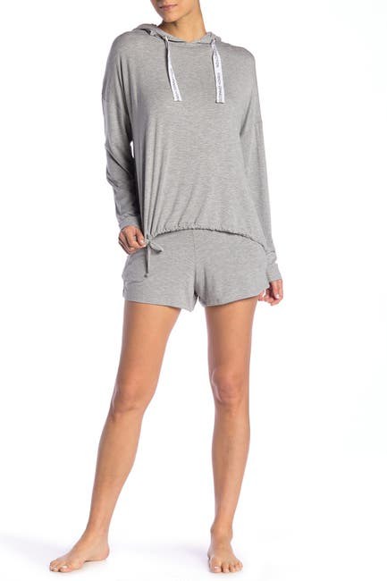 Image of French Connection Logo Tie Hoodie & Shorts Pajama 2-Piece Set