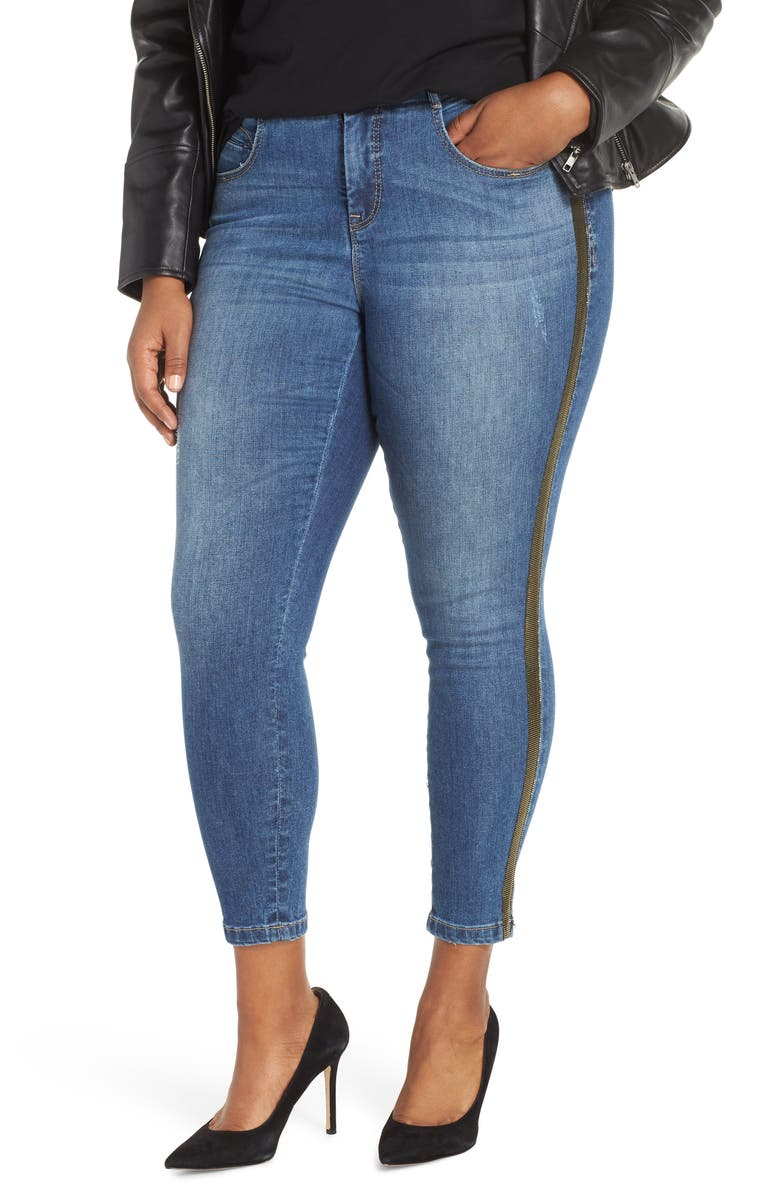 YSJ Side Stripe Ankle Skinny Jeans, Main, color, GOLD PARTY WASH