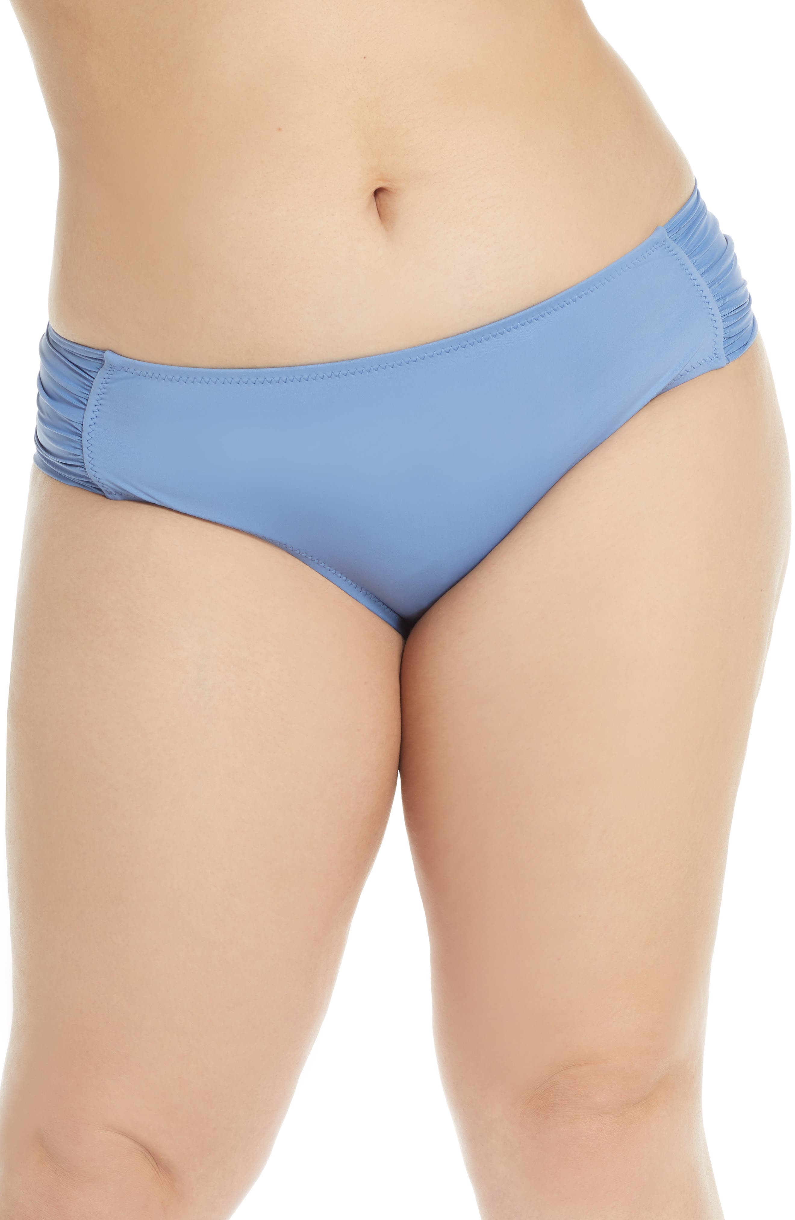 Plus Size Becca Etc. Color Code Tab Side Bikini Bottoms, Blue