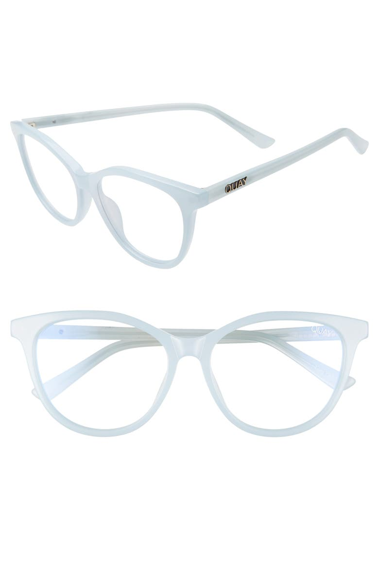 QUAY AUSTRALIA All Nighter 50mm Blue Light Blocking Optical Glasses, Main, color, LIGHT BLUE/ BLUE LIGHT