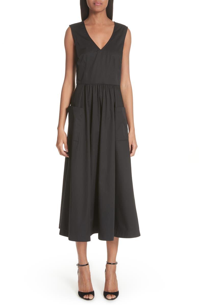 CO Patch Pocket Sateen Midi Dress, Main, color, 001