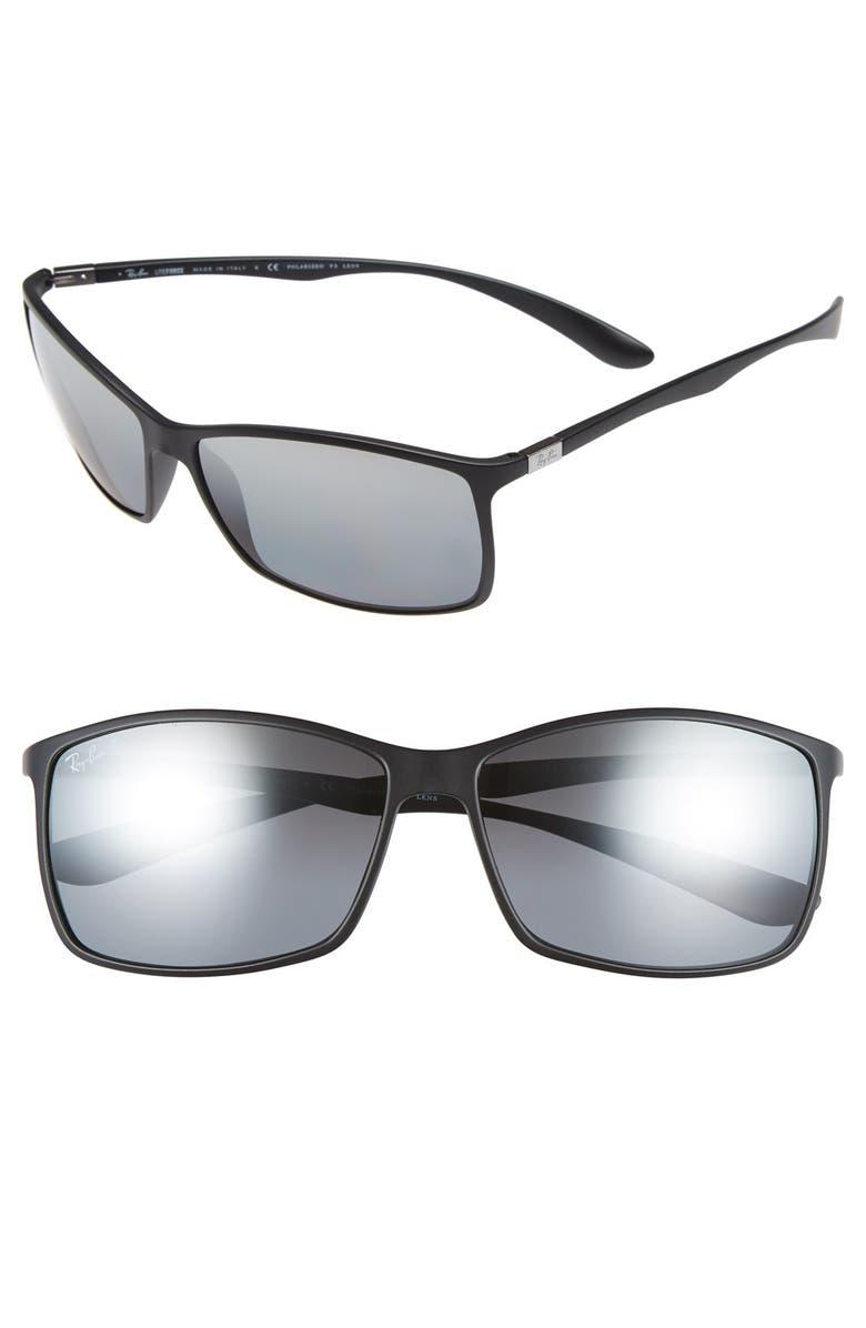 RAY-BAN 'TECH Liteforce' 62mm Polarized Sunglasses, Main, color, MATTE BLACK/ GREY MIRROR P