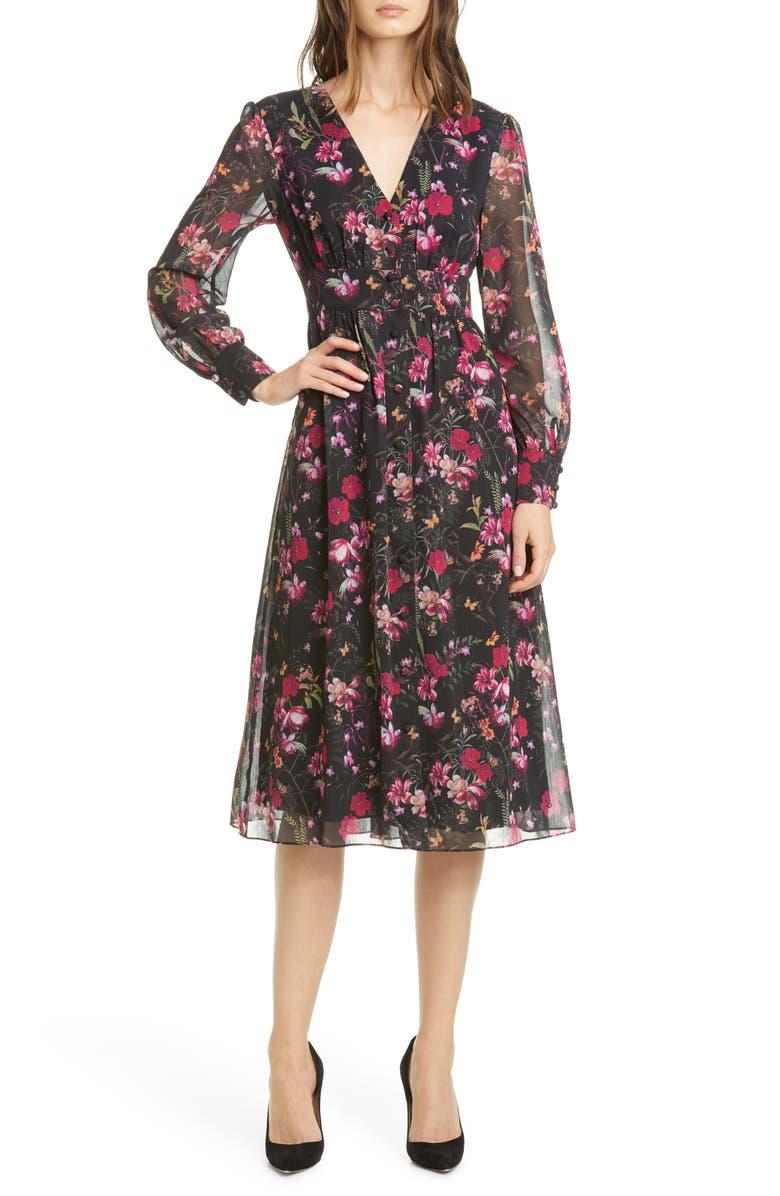 TED BAKER LONDON Adriela Fern Forest Long Sleeve Dress, Main, color, BLACK