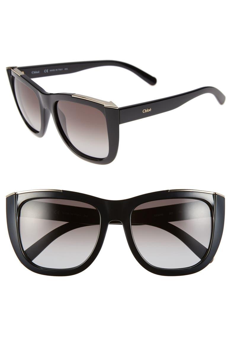 CHLOÉ 'Dallia' 55mm Sunglasses, Main, color, 001
