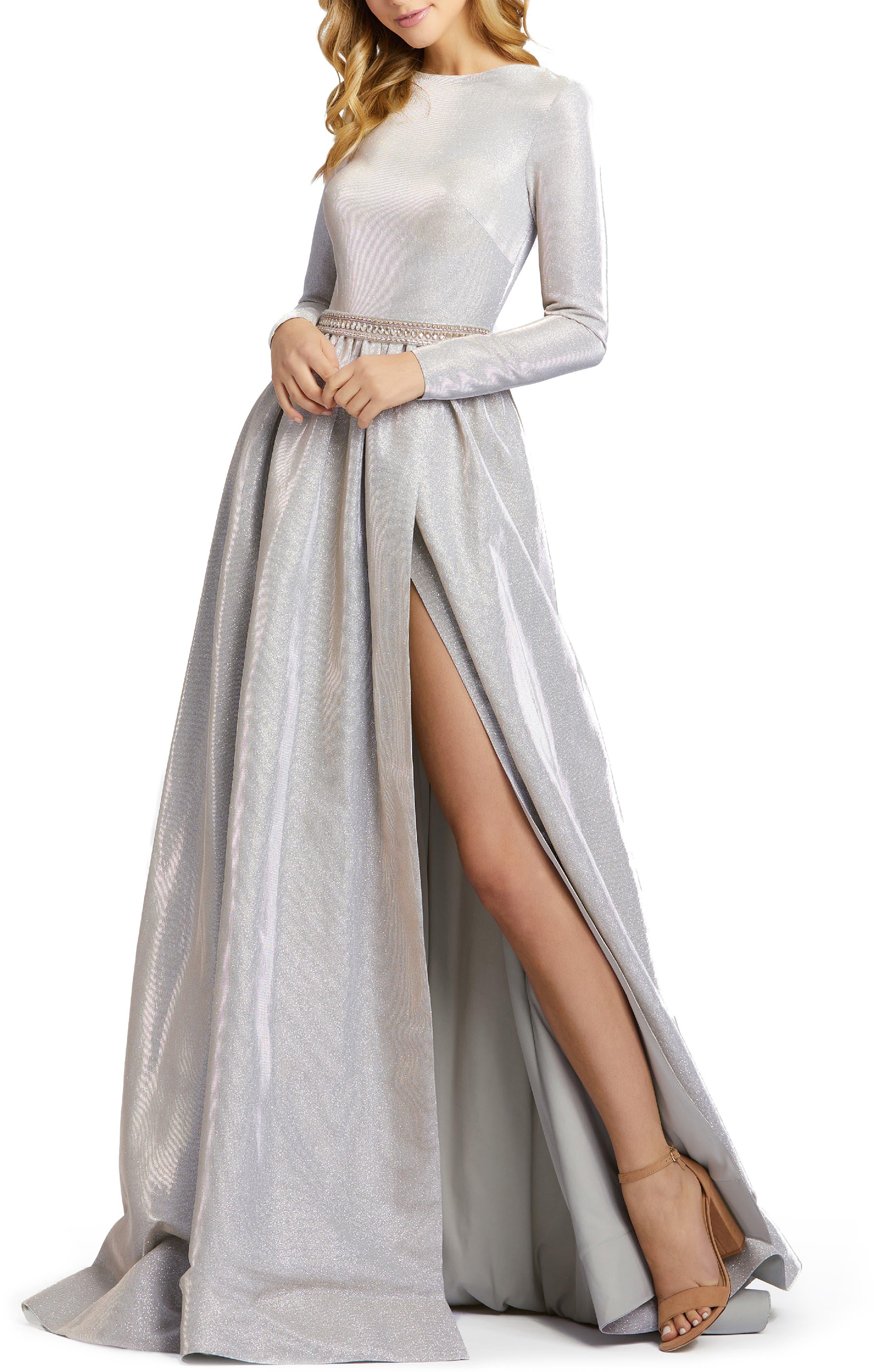 Mac Duggal Shimmer Long Sleeve Ballgown | Nordstrom