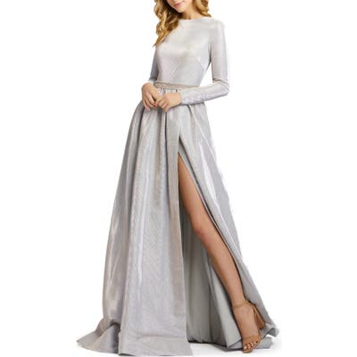 MAC Duggal Shimmer Long Sleeve Ballgown, Grey