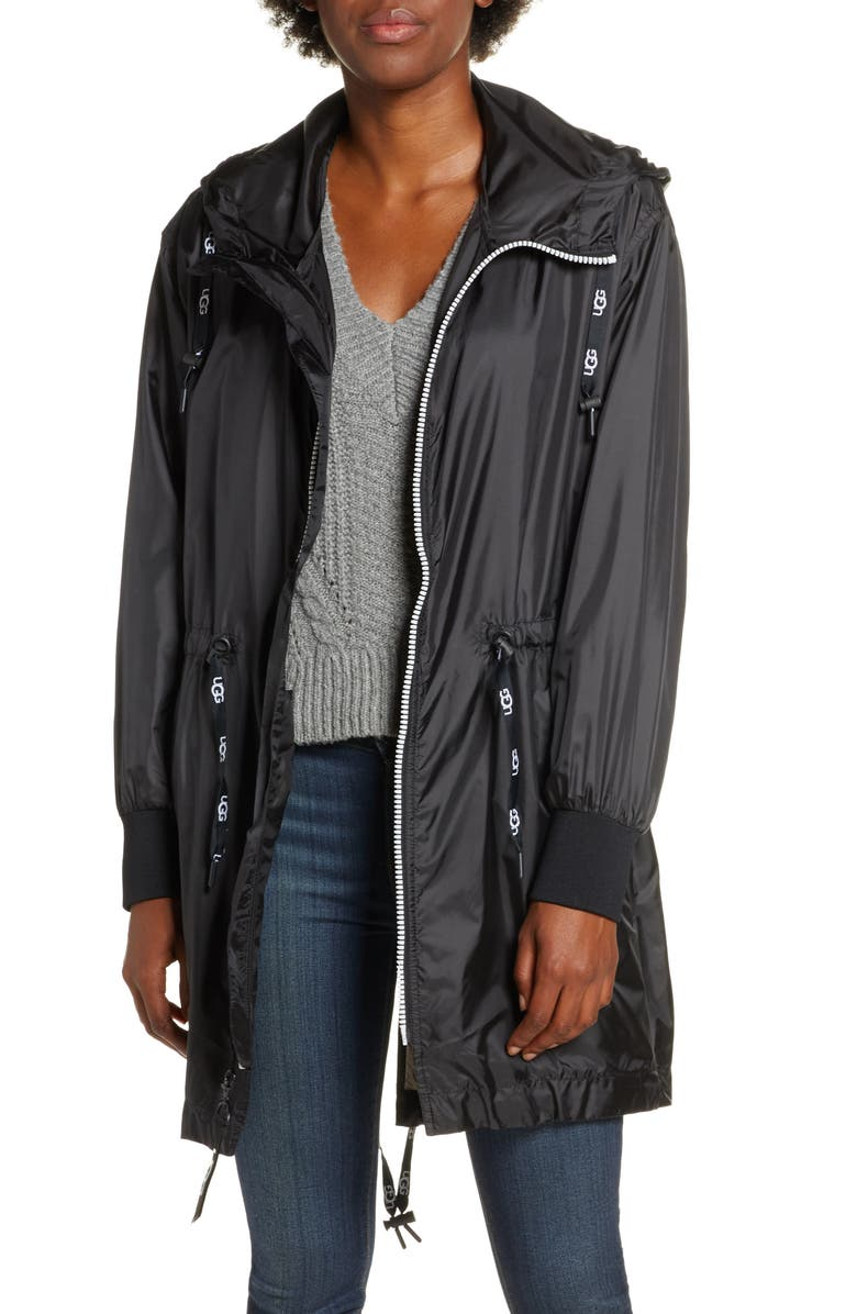 UGG<SUP>®</SUP> Brittany Hooded Water Resistant Parka, Main, color, BLACK