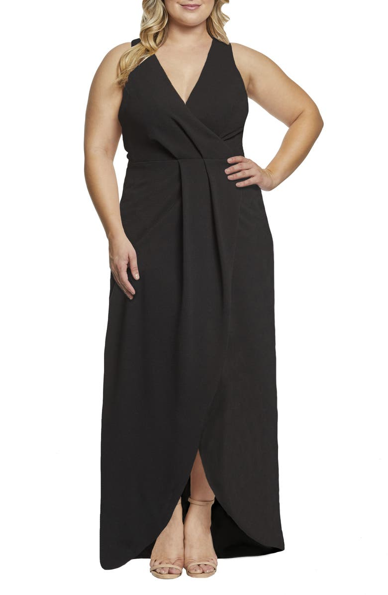 DRESS THE POPULATION Ariel Racerback Faux Wrap Evening Dress, Main, color, BLACK