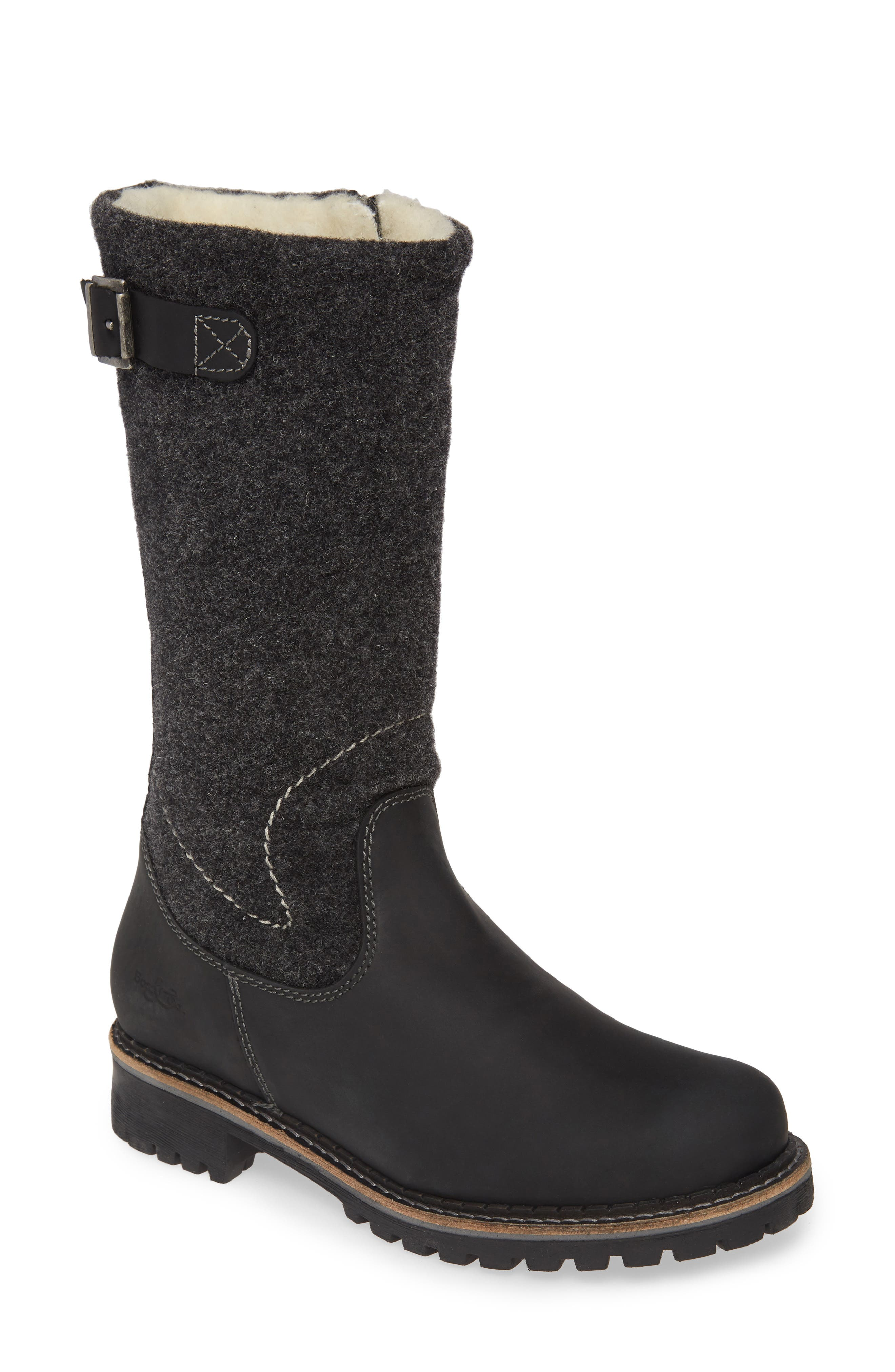 A boiled-wool shaft blocks chilly breezes while an Aquastop breathable, water-repellent membrane helps keep feet dry in wet weather. A plush merino wool lining ensures toes stay toasty warm, and the chunky, lugged platform sole provides exceptional traction in icy or snowy conditions. Style Name: Bos. & Co. Hammond Waterproof Boot (Women). Style Number: 5871706. Available in stores.