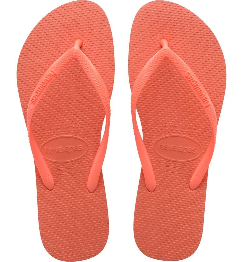 HAVAIANAS Slim Flip Flop, Main, color, CORAL CHIC