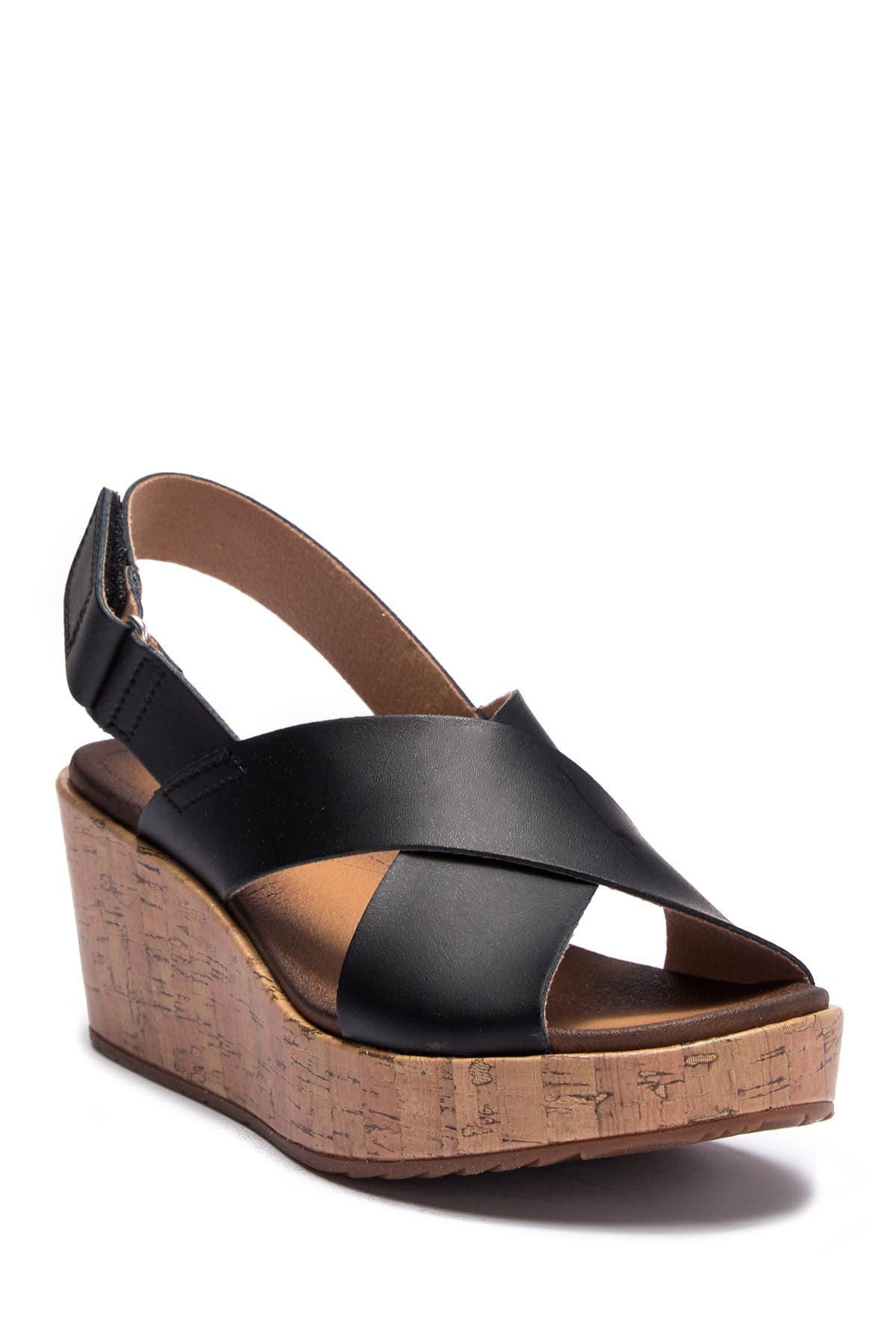 Image of Clarks Stasha Hale Leather Wedge Sandal - Wide Width Available