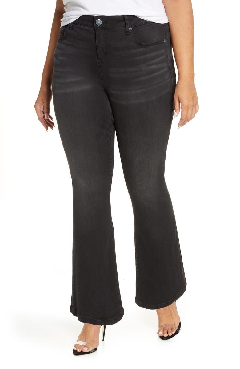 SLINK JEANS High Waist Flare Leg Jeans, Main, color, BLACK