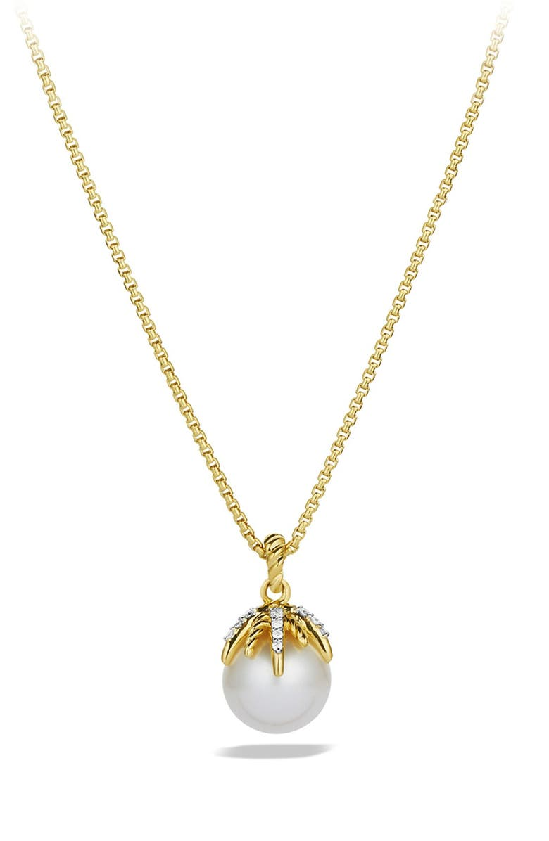 DAVID YURMAN 'Starburst' Pearl Pendant with Diamonds on Chain, Main, color, PEARL/ GOLD