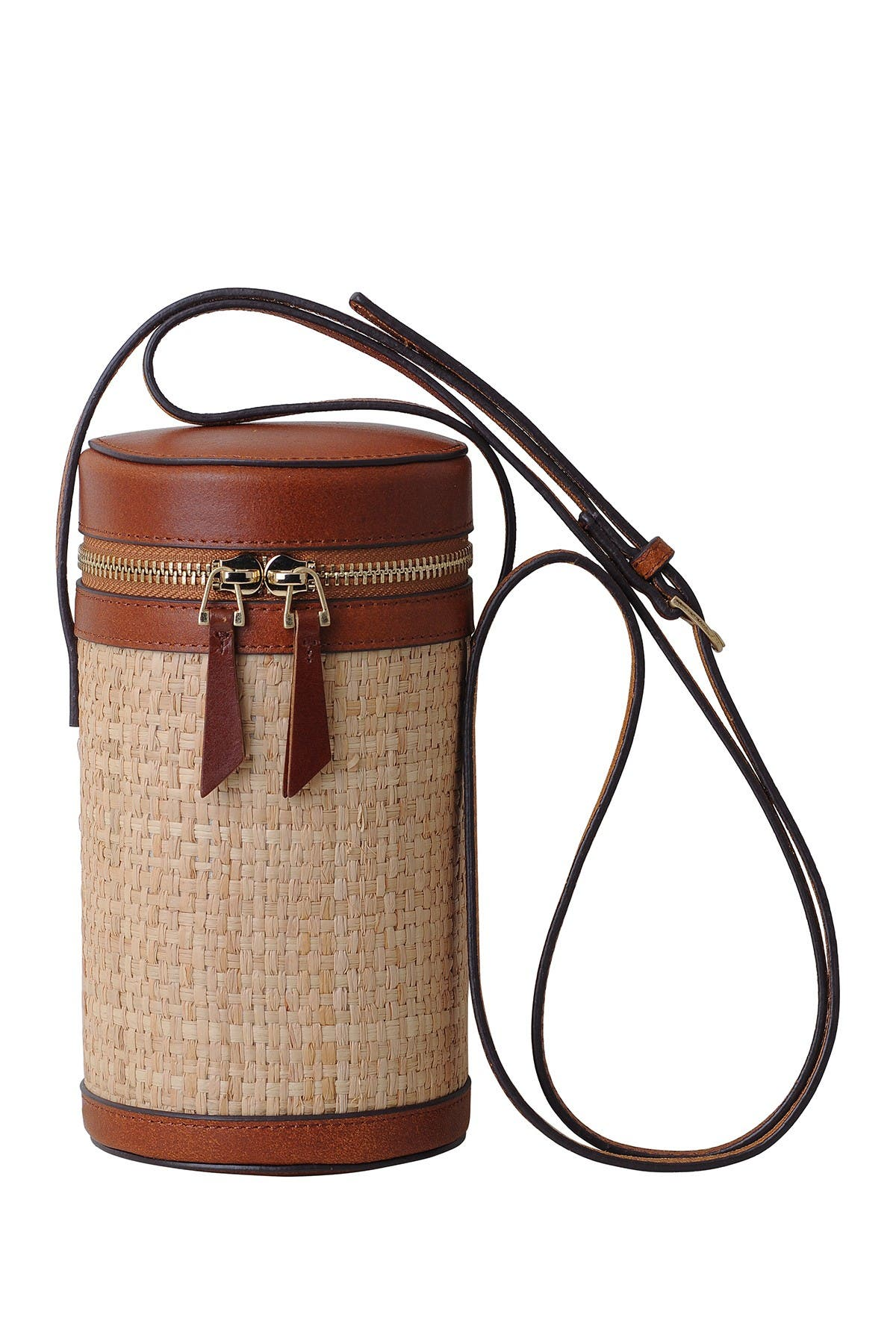 Image of Most Wanted USA Woven Cylindrical Leather Trim Bag