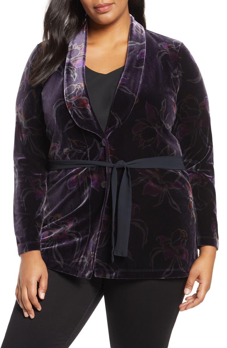 NIC+ZOE Soft Petal Floral Velvet Jacket, Main, color, MULTI