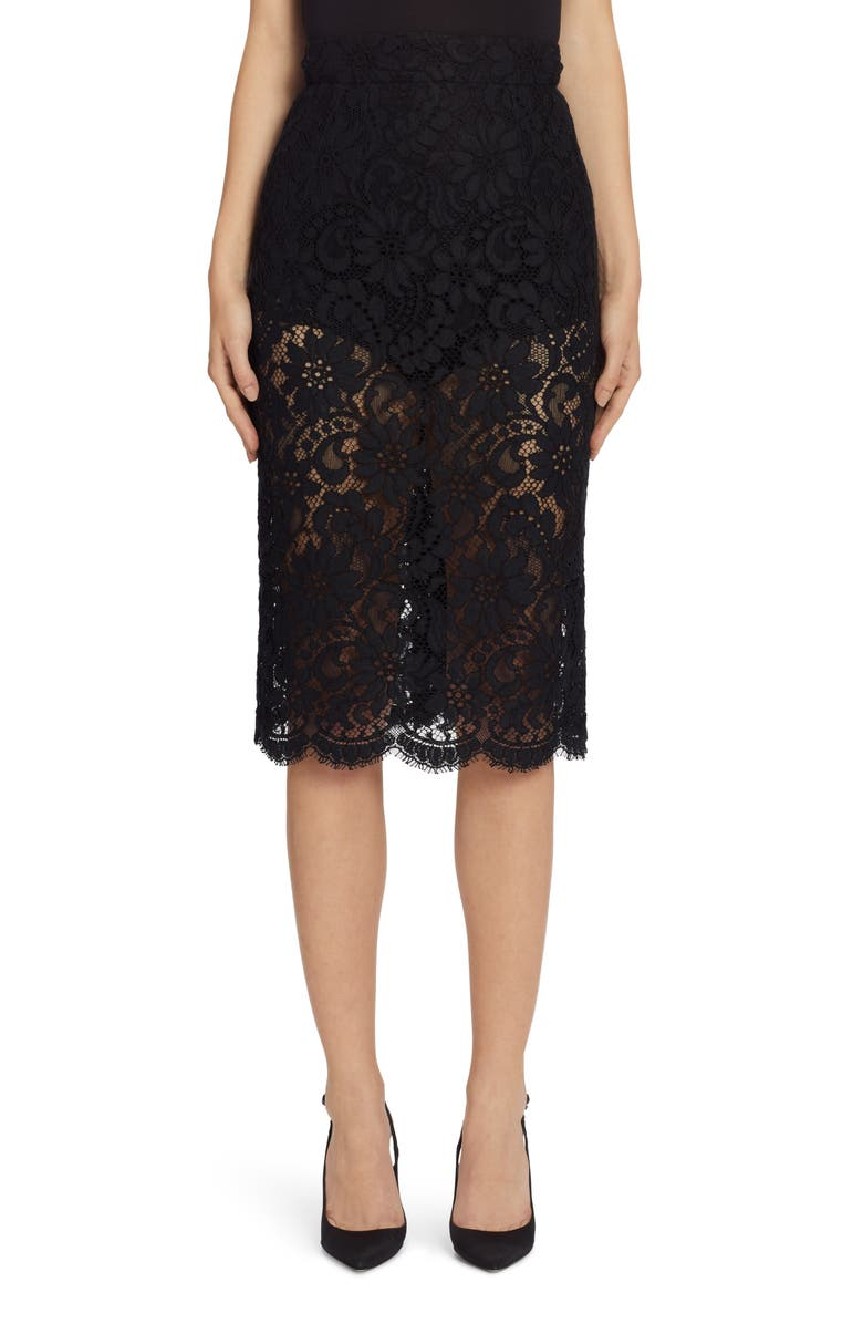DOLCE&GABBANA Lace Pencil Skirt, Main, color, BLACK