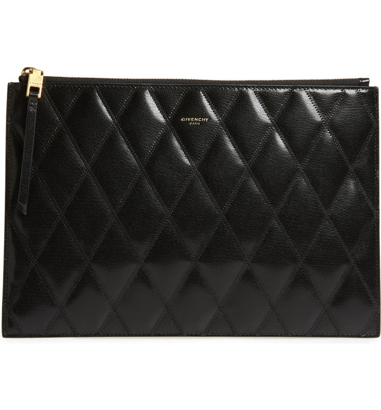 GIVENCHY Quilted Leather Pouch, Main, color, BLACK