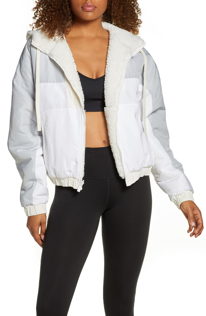 ALO Duality Reversible Faux Shearling Jacket, Main, color, PRISTINE/ WHITE/ DOVE GREY