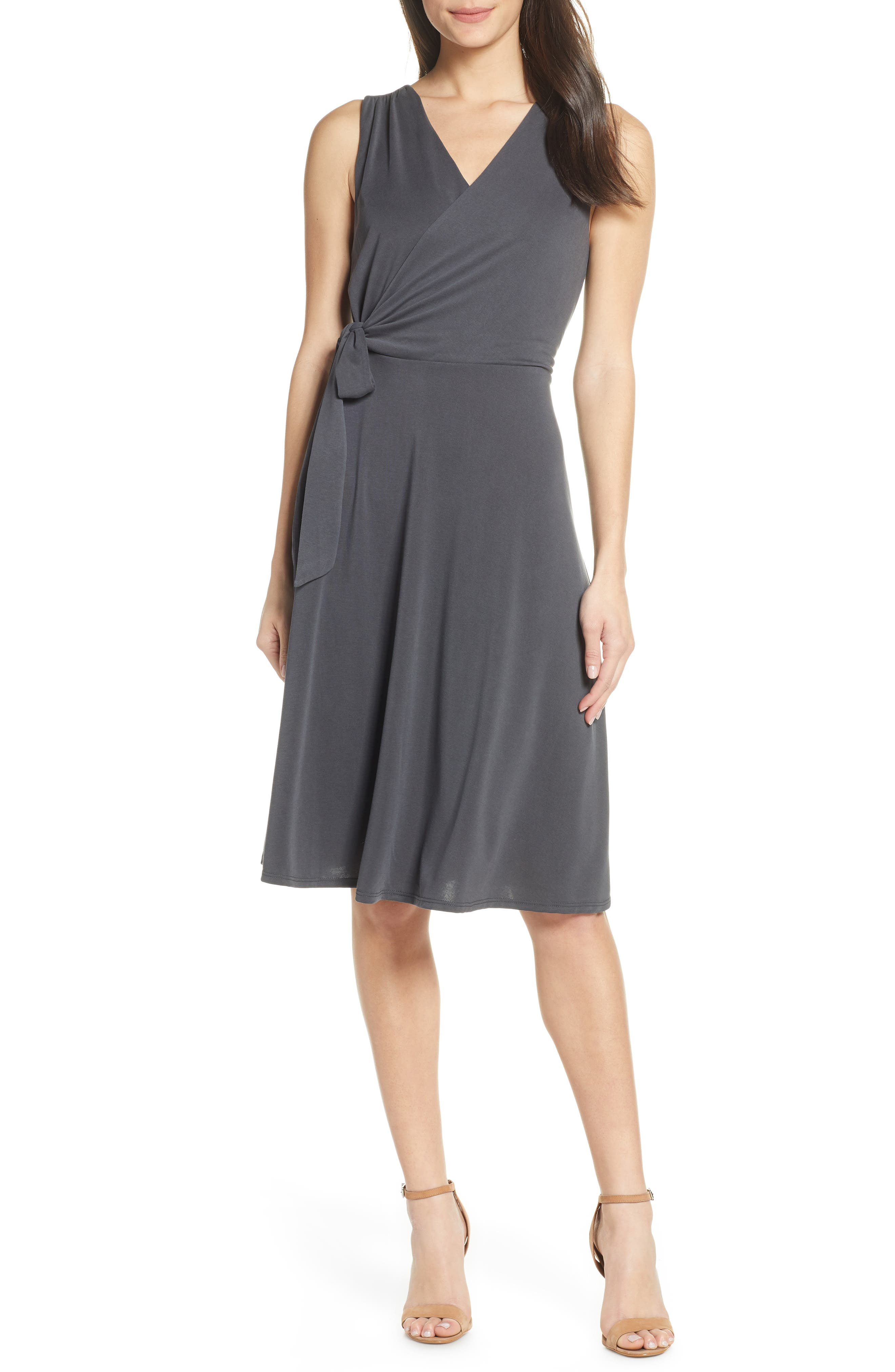 Chelsea28 Faux Wrap Tank Dress, Grey