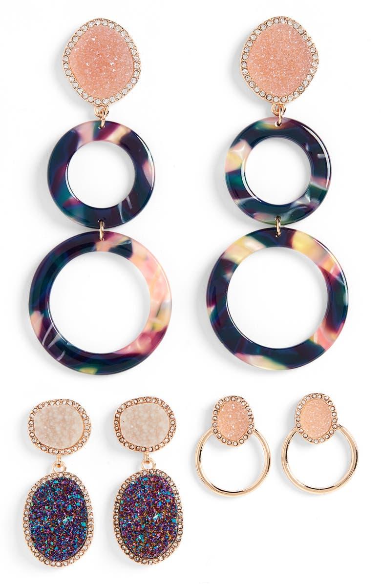 BAUBLEBAR Set of 3 Hoop & Drop Earrings, Main, color, 650