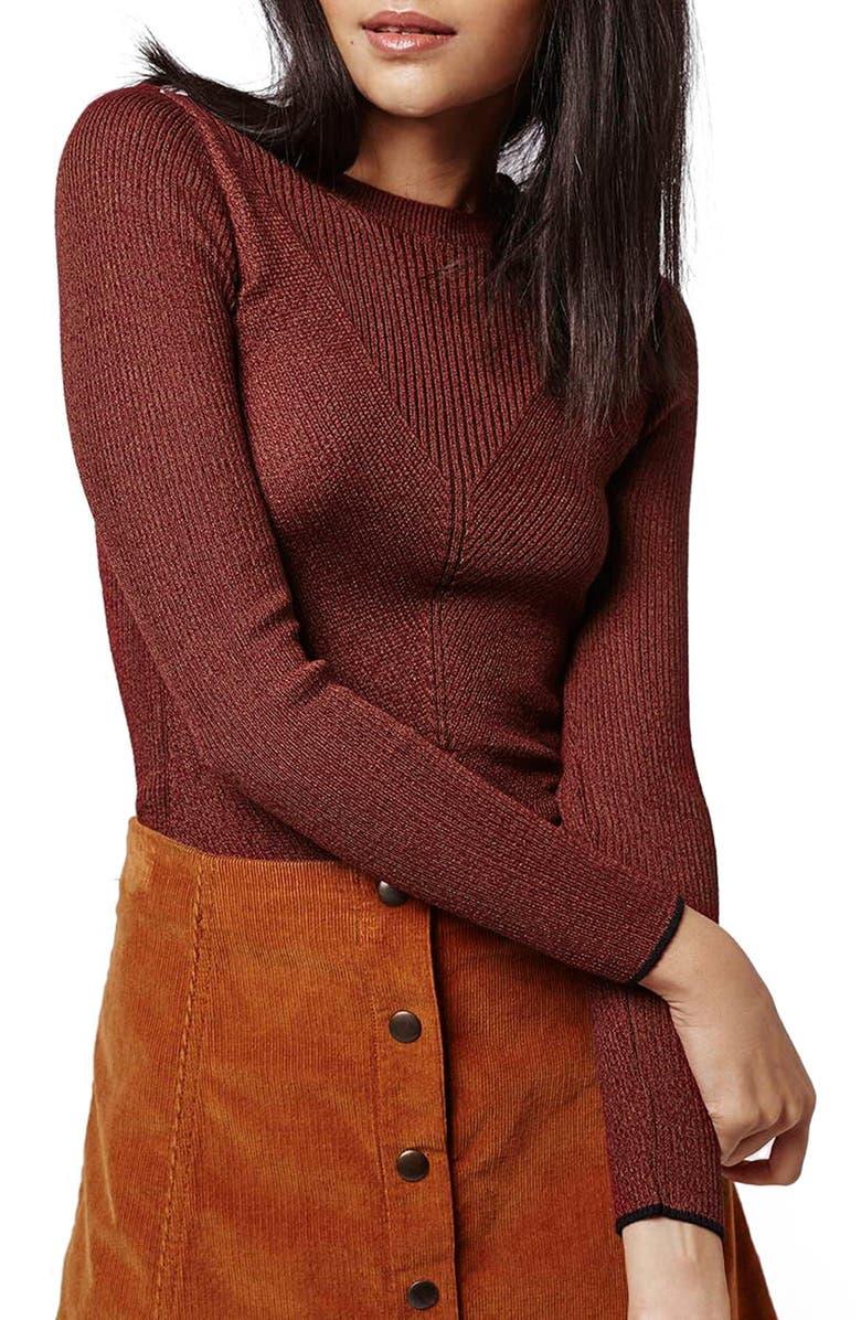 TOPSHOP Chevron Rib Sweater, Main, color, 200