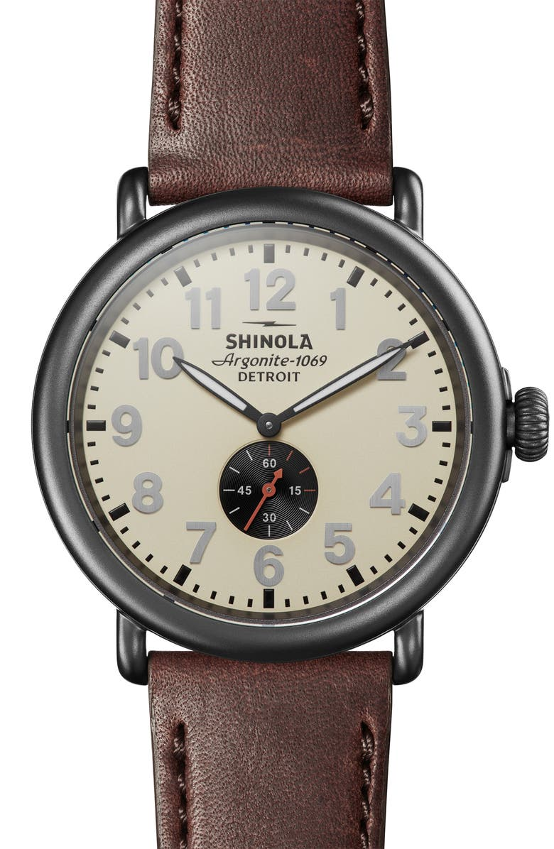SHINOLA 'The Runwell' Leather Strap Watch, 47mm, Main, color, BROWN/ CREAM/ GUNMETAL