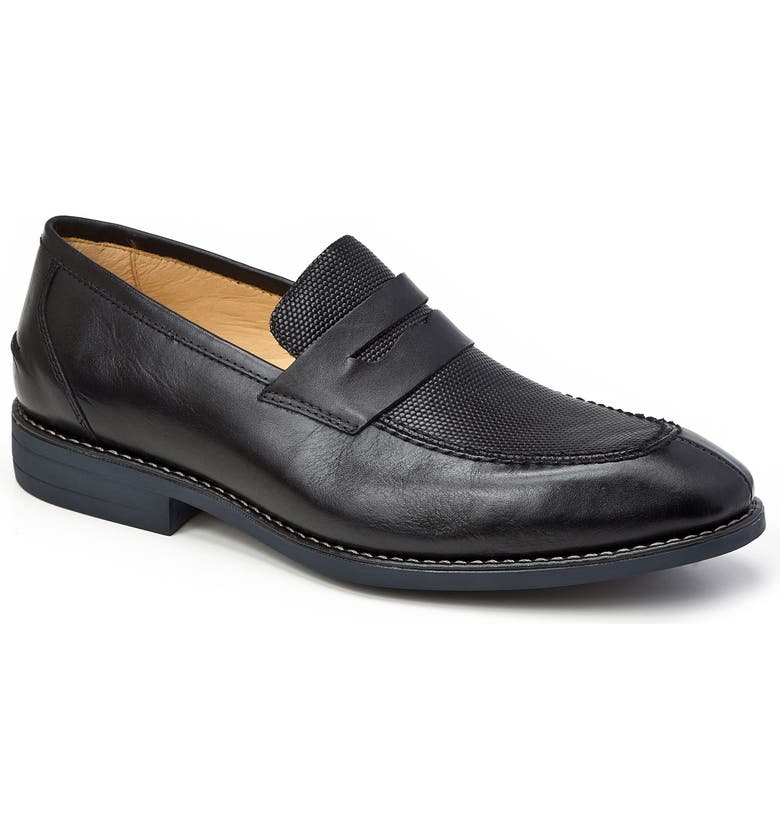 SANDRO MOSCOLONI Maestro Penny Loafer, Main, color, BLACK LEATHER