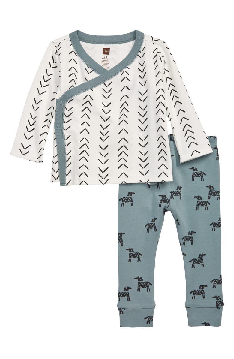 TEA COLLECTION Wrap Top & Leggings Set, Main, color, BABY GEO - PAPERWHITE