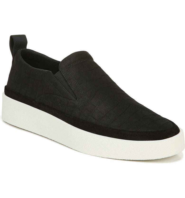 VIA SPIGA Markie Slip-On Sneaker, Main, color, BLACK NUBUCK LEATHER
