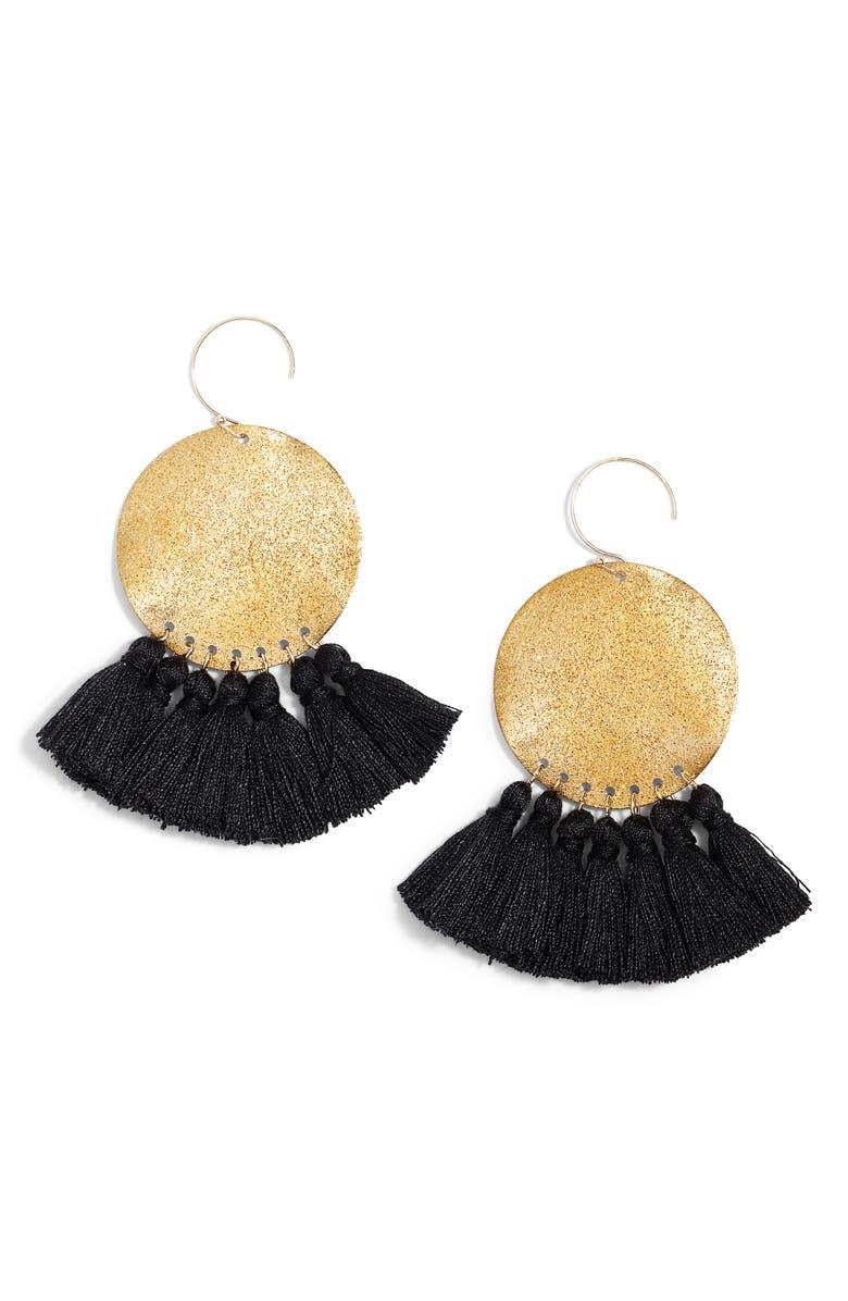 SEREFINA Lunar Tassel Earrings, Main, color, 710