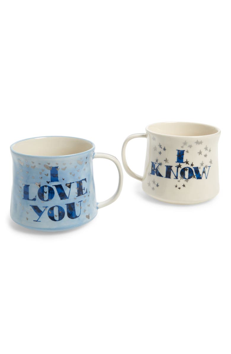 ANTHROPOLOGIE HOME Townhouse Set of 2 Mugs, Main, color, BLUE