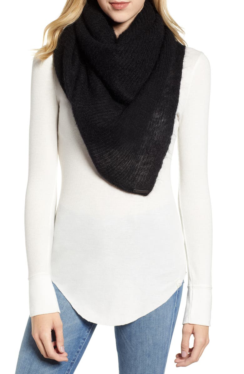 ALLSAINTS Square Scarf, Main, color, BLACK