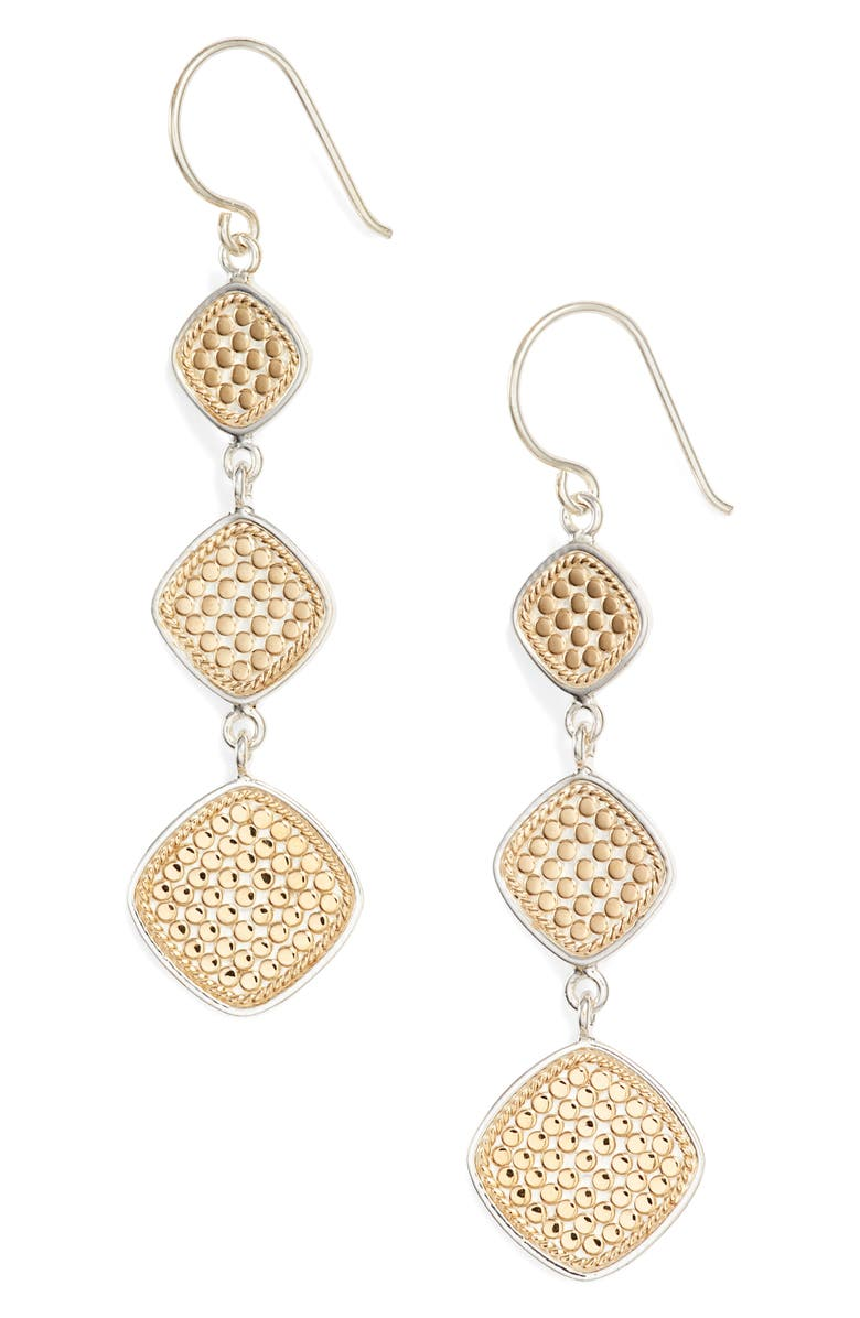 ANNA BECK Cushion Triple Drop Earrings, Main, color, GOLD/ SILVER
