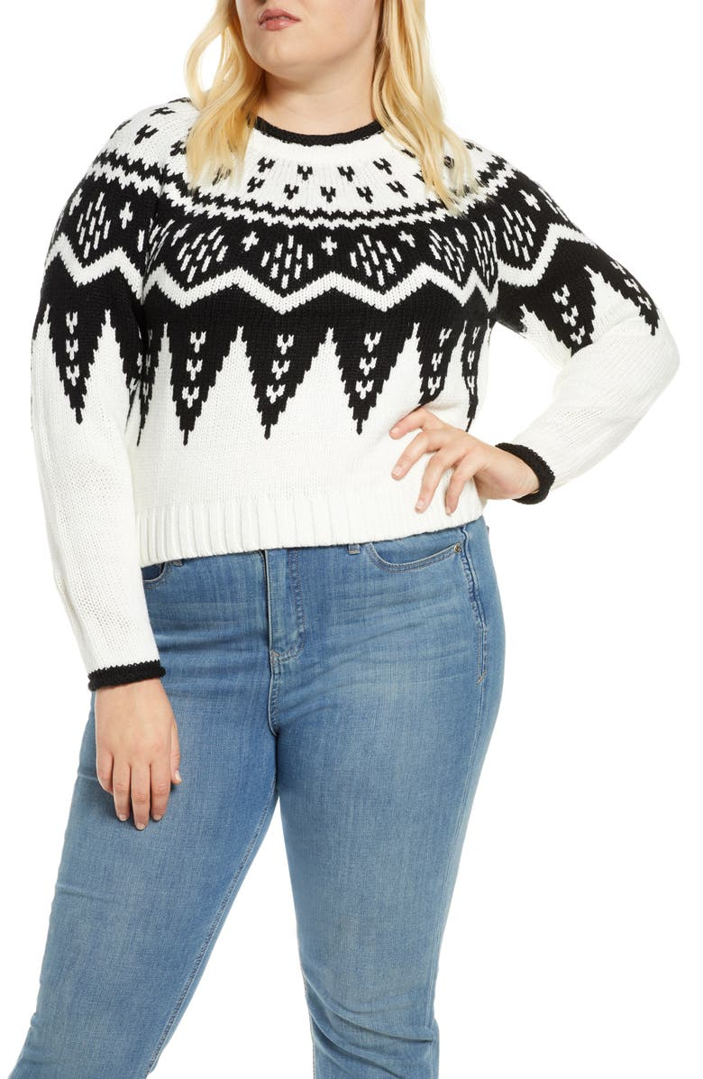 ELOQUII Fair Isle Crewneck Crop Sweater, Main, color, 100