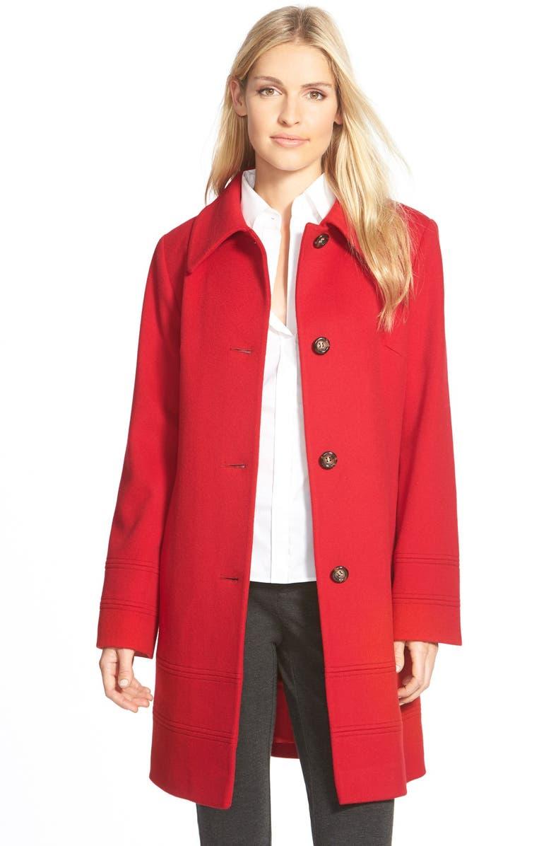 FLEURETTE Wool Spread Collar Coat, Main, color, 620
