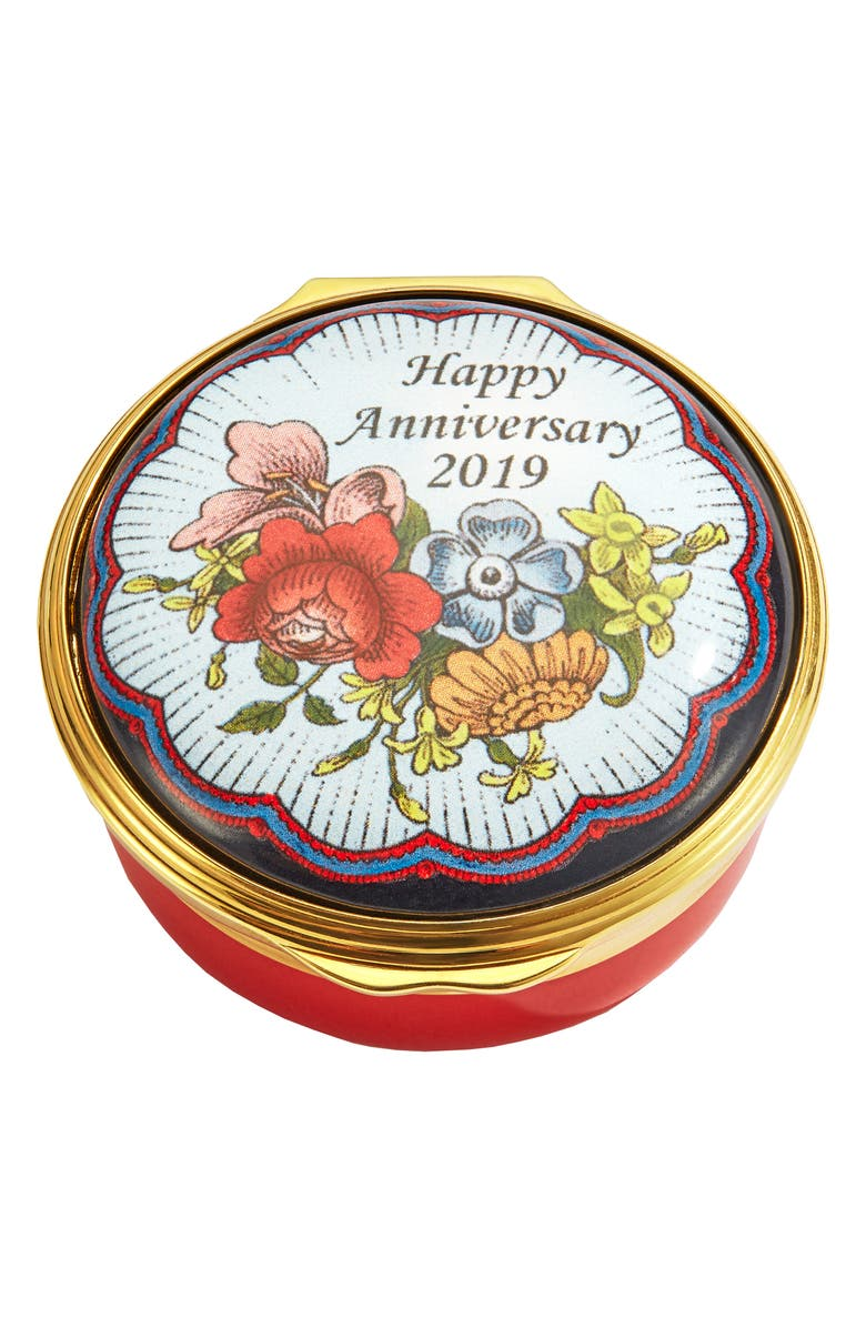 HALCYON DAYS Happy Anniversary 2019 Enamel Box, Main, color, RED